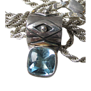 Sterling Silver & Blue Topaz Signed Vintage Slide Necklace
