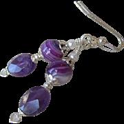 """""""My Secret Garden"""" Art Glass & Amethyst Artisan Earrings, """"Lavender Dreams"""""""