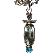 Sterling Silver, BIG Green Amethyst - Prasiolite, Blue Topaz & Amethyst Vintage Necklace