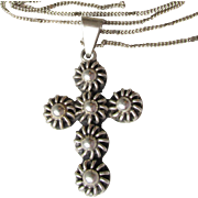 Vintage Taxco Mexico Sterling Silver Long CROSS Pendant Necklace