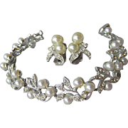 Signed Marvella Faux Pearl & Rhinestone Rhodium Plated Bracelet & Earrings Set, Vintage 1960's
