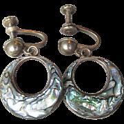 Vintage Taxco Mexico Sterling Silver & Abalone Hoop Dangle Screw Earrings
