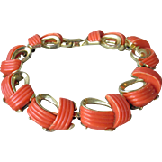 Signed LISNER Vintage 1950's Gold Tone with Orange Thermoset Lucite Bracelet
