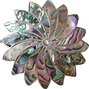 Vintage Mexico Sterling Silver & Abalone Large Swirl FLOWER Pin Pendant, Eagle 1 Mark