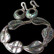 "Vintage Mexico Sterling Silver & Abalone 8"" LEAF Bracelet & Hoop Converted Pierced Earrin"