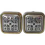 Sterling Silver with Vermeil Square Scroll Etched Vintage Clip Earrings