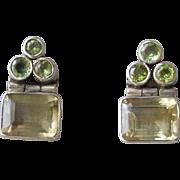 Sterling Silver, Citrine & Peridot Hinged Door Knocker Vintage Pierced Earring