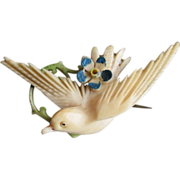 REDUCED Exquisite Victorian Carved & Tinted Bone Bird & Flower Pin