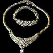 SALE DRASTIC REDUCTION Vintage CORO A. Katz Rhinestone Necklace & Bracelet Set