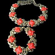 SALE drastic reduction Vintage ORANGE Thermoset Necklace & Bracelet Set