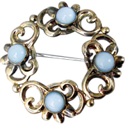 drastic reduction Vintage Sterling Silver Vermeil & BLUE Moonstone Pin, Signed Symmetalic