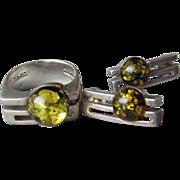 SALE drastic reduction 1970's Modern Baltic Amber Sterling Silver Ring & Pierced Earrings Set