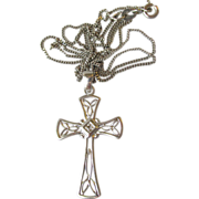 Delicate Sterling Silver CZ Cross Necklace