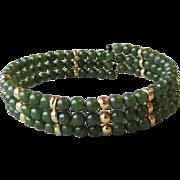 REDUCED Jade Bead Vintage Three Row Memory Wire Bracelet