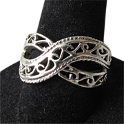 REDUCED Vintage Sterling Silver Curved CrossOver Open Work Band Ring