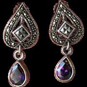 SALE Sparkling Vintage Amethyst & Marcasite Sterling Silver Dangle Pierced Earrings