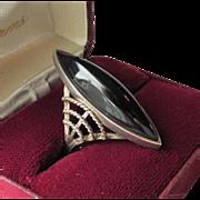 SALE Massive Sterling Silver & Onyx Modernist Ring