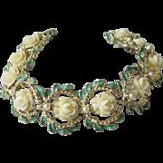 SALE Vintage Amerique Faux Ivory Lucite Roses, Pearl & Enamel Bracelet
