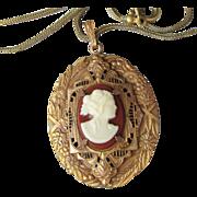 SALE Antique Edwardian Ornate Celluloid Cameo Necklace