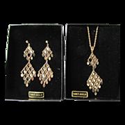 SALE 14k Gold Double Drop Chandelier Necklace & Earrings Vintage Set, MIB