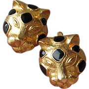 SALE Vintage Trifari Leopard Gold-Tone with Black Enamel Earrings