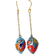 SALE Up-Cycled Millefiori Venetian Glass Dangle Pierced Earrings