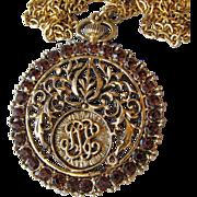 SALE Pauline Rader Vintage MOD 60's Amber Rhinestone Faux Pocket Watch Pendant Necklace