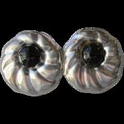 SALE Taxco Mexico Sterling Silver & Onyx Shell Pierced Earrings
