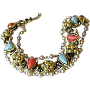 REDUCED Unsigned Goldette Faux Coral, Turquoise & Pearl Charm Link Bracelet