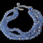 Triple Strand Blue Aurora Borealis Crystal Estate Necklace