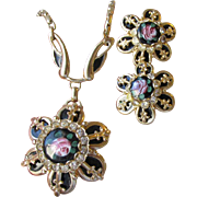 REDUCED 1950's Vintage Black Enamel Pink ROSE & Rhinestones Necklace & Earrings Set