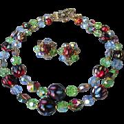 SALE Exceptional Two-Strand Watermelon Rivoli Swarovski Crystal & Dimple Glass Bead necklace &
