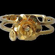 SALE DRASTIC REDUCTION  Vintage Mesh ROSE Gold-Tone Clamper Bracelet, Virgin Mary Medal