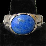 Vintage Designer Unisex Sterling Silver & Lapis Pre-Columbian Design Ring