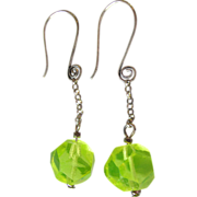 Upcycled Vintage Vaseline Uranium Glass Bead Sterling Silver Dangle Pierced Earrings