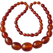 "SALE Vintage 1920's Massive Baltic Honey Amber Bead 26"" Long Necklace"