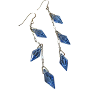 Upcycled Vintage 1920's Art Deco Flapper Sterling Silver Blue Crystal Long Dangle Pierced ...