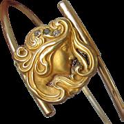 Antique Art Nouveau Brass & Rhinestone Bangle Bracelet, Woman with Flowing Hair