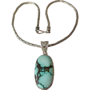 SALE Bali Byzantine Link Sterling Silver Turquoise Pendant Necklace
