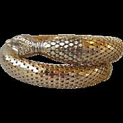 SALE Sparkling Vintage Whiting & Davis Snake Coil Gold-Tone Mesh Bracelet