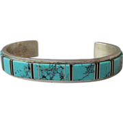 SALE Vintage Navajo Inlaid Sterling Silver Cuff Bracelet, Signed WS Willie Shaw