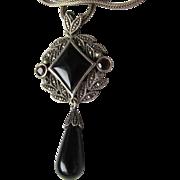 SALE Vintage Sterling Silver, Onyx, Garnet & Marcasite Dangle Pendant Necklace