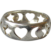 Vintage Sterling Silver Open Work Heart, Moon & Stars Band Ring, Size 7.5