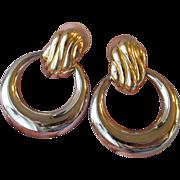 Vintage 1980's BIG Signed TAT Door Knocker Hoop Silver & Gold Tone Pierced Earrings