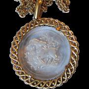 Vintage CROWN TRIFARI Glass Pendant ZODIAC Cut Intaglio Capricorn Necklace