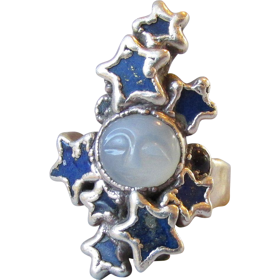 moonstone rings with stars - photo #25