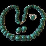 SALE Vintage Malachite Bead Parure Necklace, Earrings, Ring Set