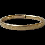 Antique Edwardian 14k Gold Filled Engraved Child's Bangle Bracelet
