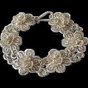 Vintage Mexico Sterling Silver Fine Filigree Flower Link Bracelet