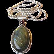BIG Vintage Sterling Silver Labradorite & Garnet Necklace